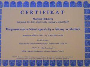 agresivita_sikana_ve_skolach_certifikat
